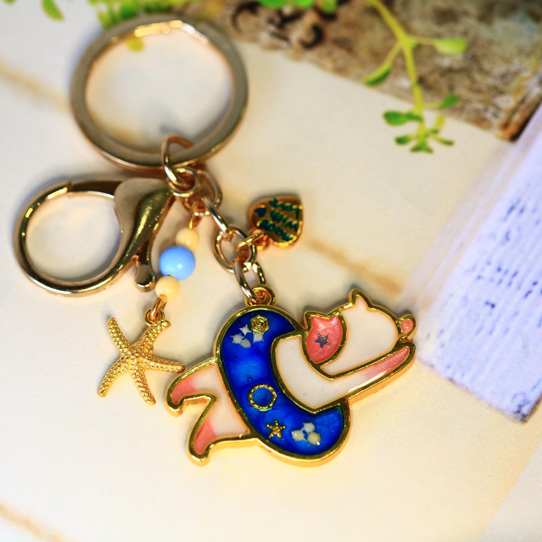 Molla 愛游泳的粉白貓(文青最愛手作吊飾、鑰匙圈、包包吊飾)