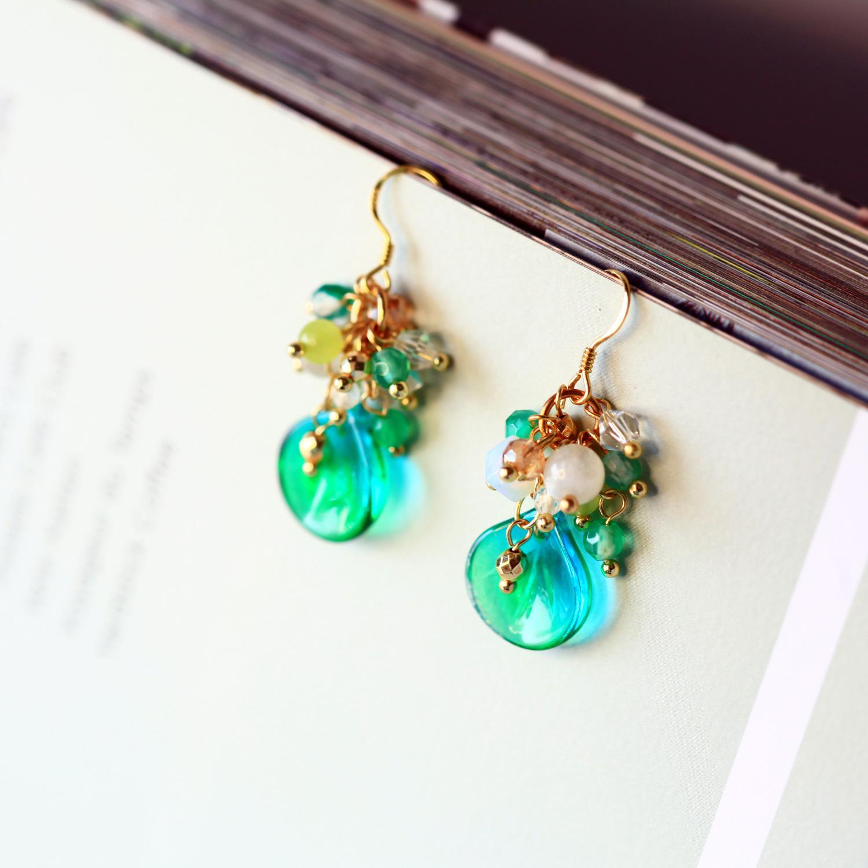 復古漸層綠天然石垂墜耳環(純銀針耳環-手工訂製)