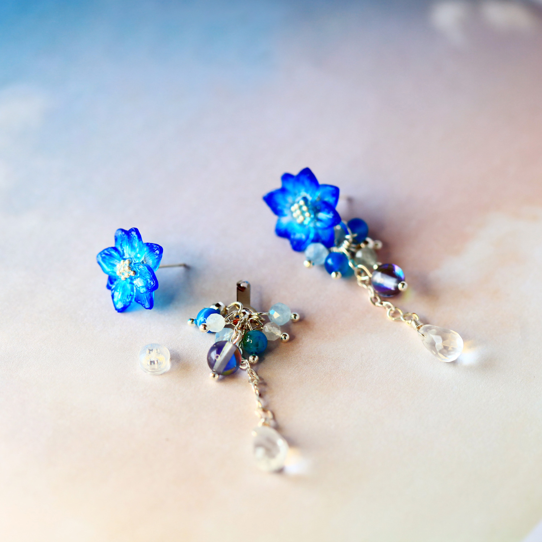 漸層藍小花天然石兩用式垂墜耳環(純銀針耳環-手工訂製)