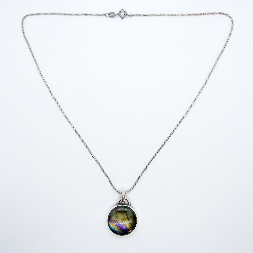 航海地圖系列12 拉長石 925銀項鍊