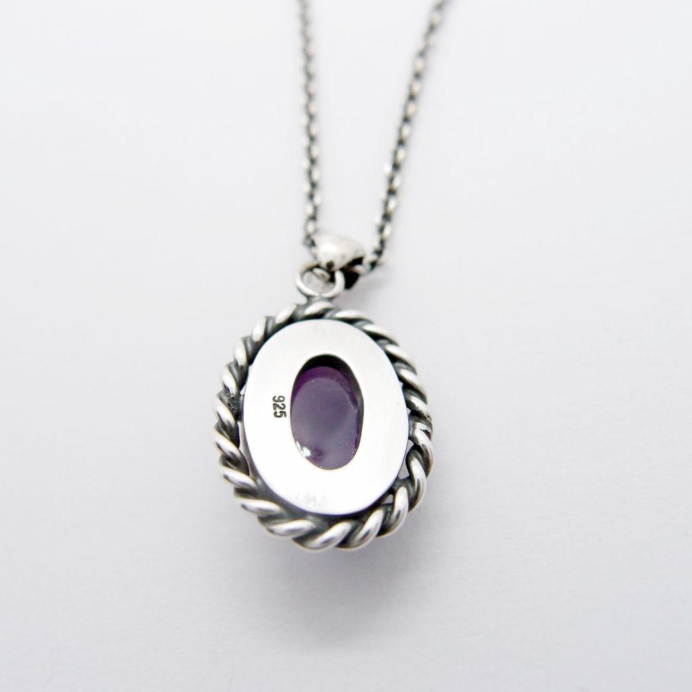 古典系列11---蛋面紫水晶925純銀項鍊