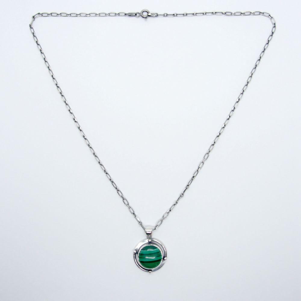 幾何行星 孔雀石925銀項鍊