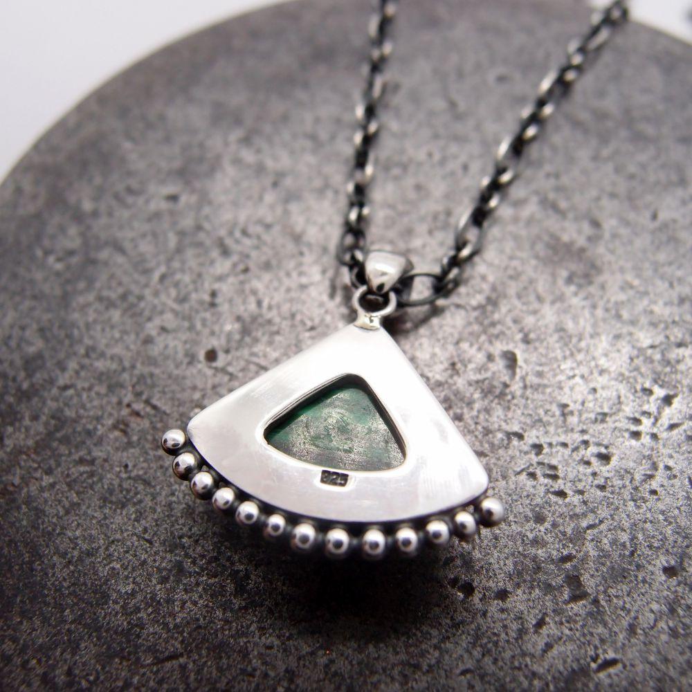 扇形孔雀石 925銀項鍊