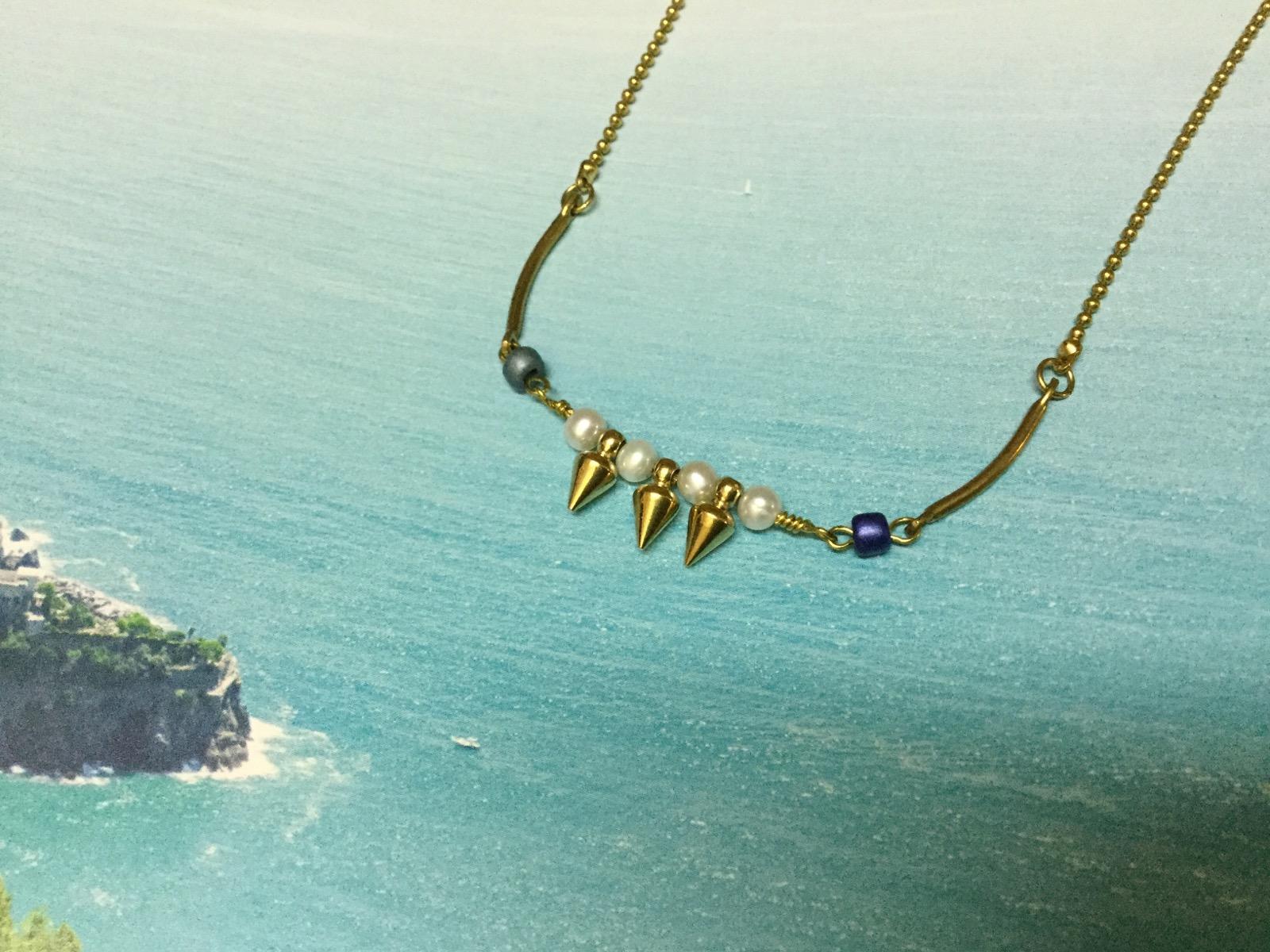 夏季海島 黃銅珍珠項鍊