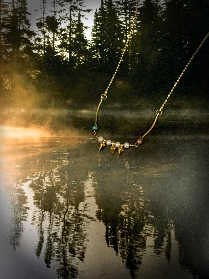 森林閒散 黃銅珍珠項鍊