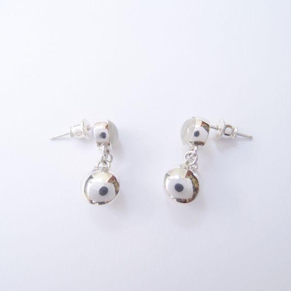 古典月光石珍珠 925銀耳環