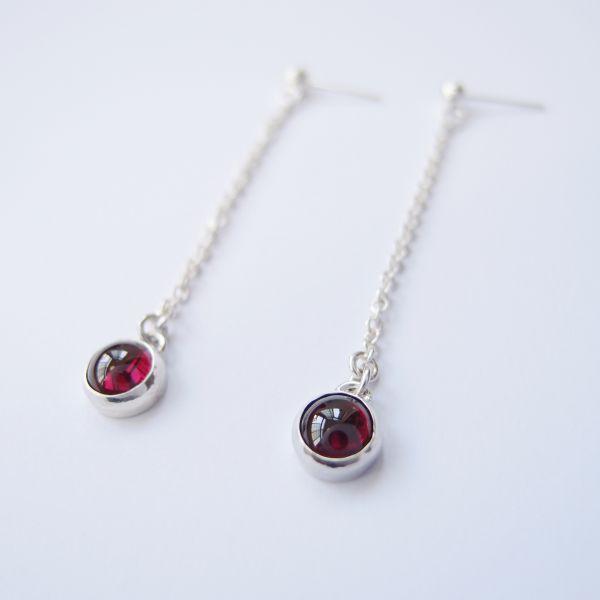 古典紅石榴 925銀耳環