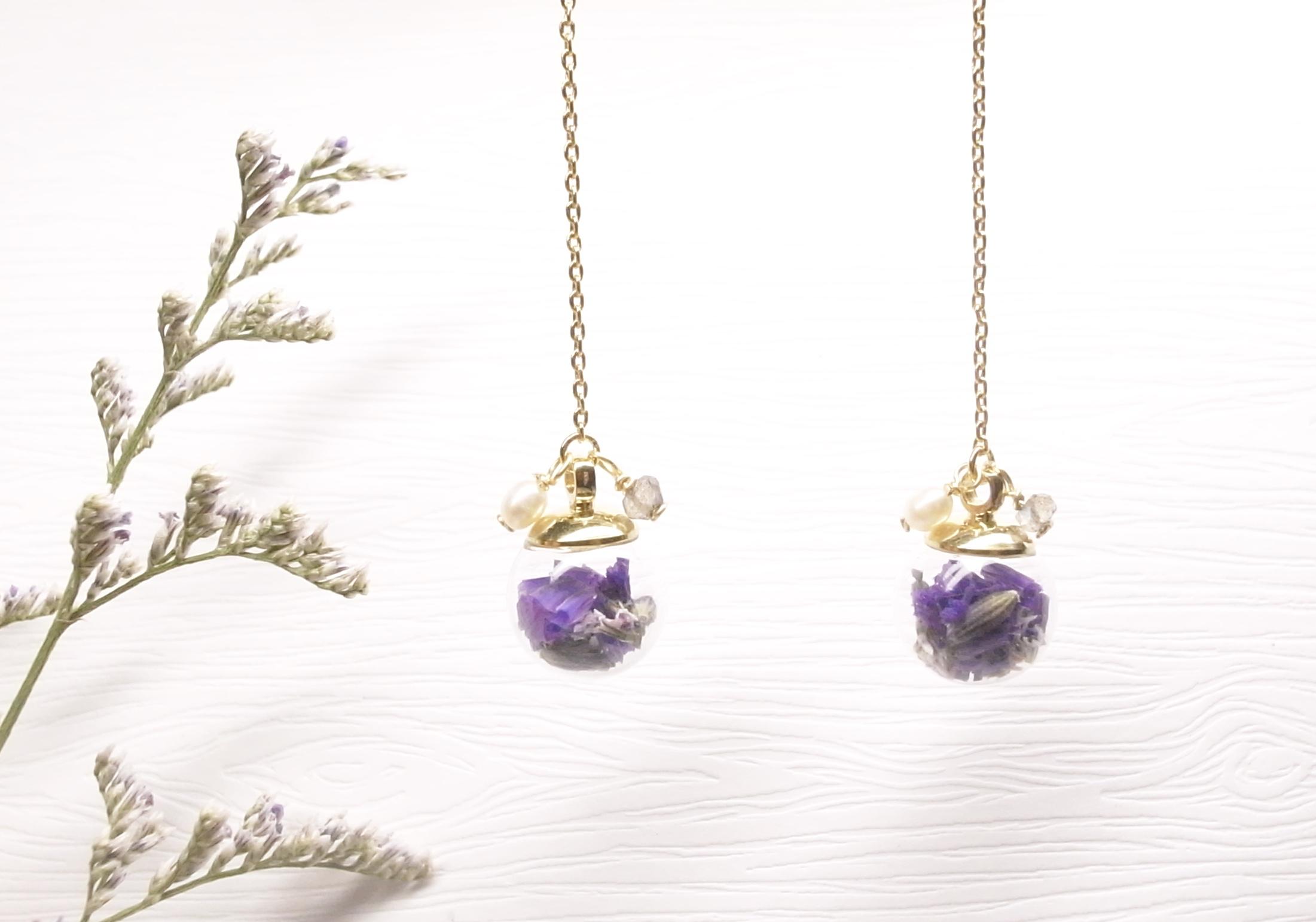 《二毛銀》【泡泡球系列-星辰乾燥花18K金垂吊式耳環(神秘紫)】(一對)
