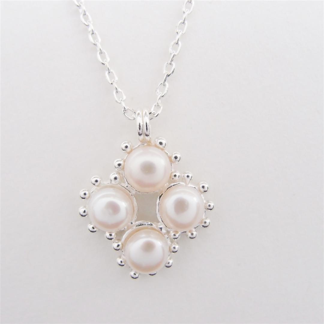 菱形珍珠  925銀項鍊