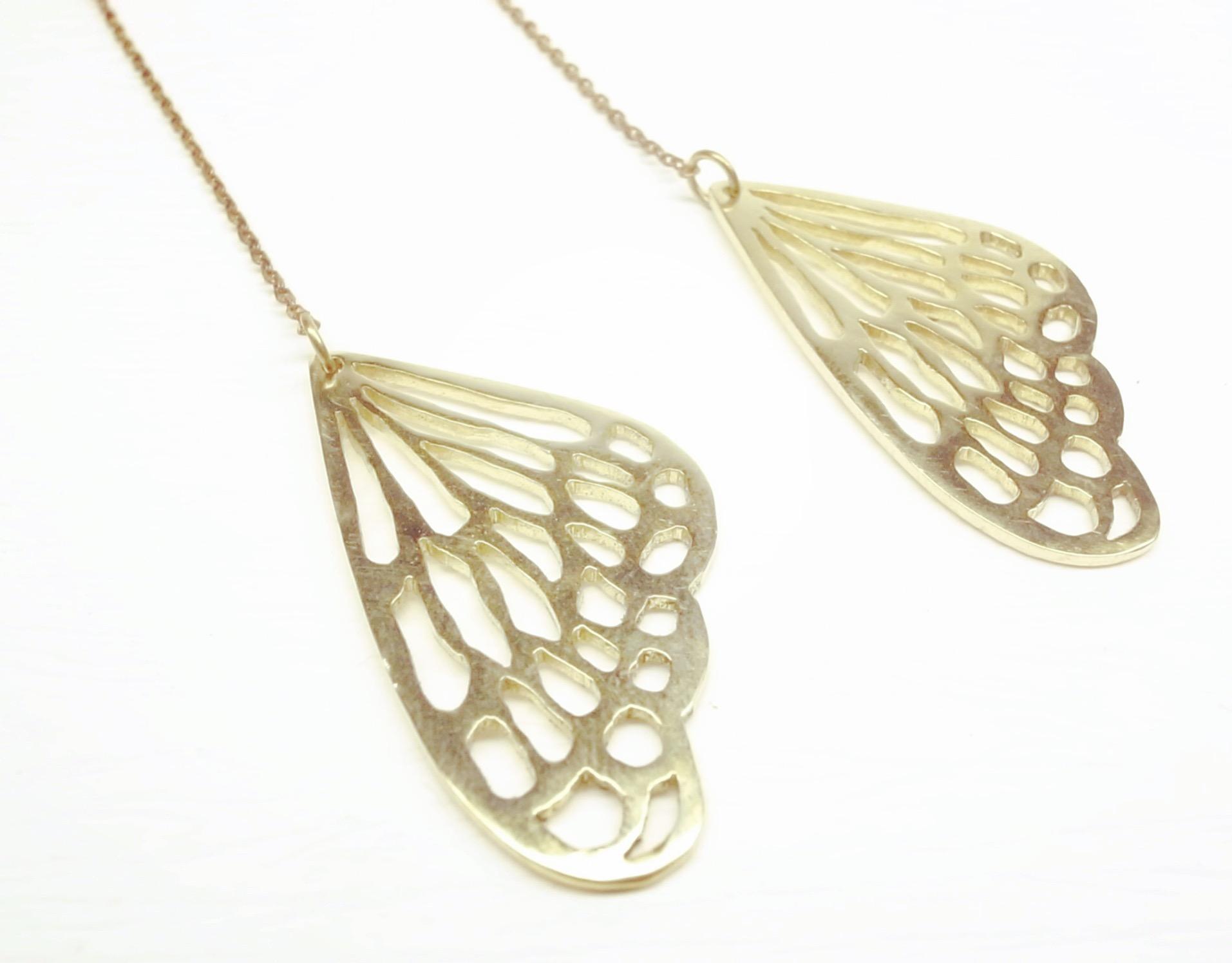 《二毛銀》【黃銅蝴蝶翅膀垂吊式耳環】(一對)