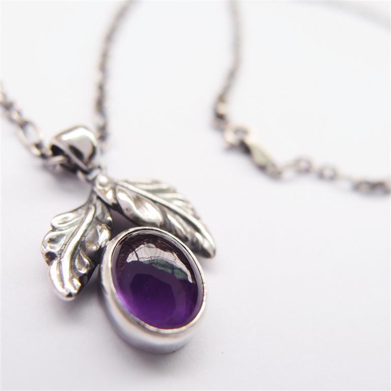 古典系列6     蛋面紫水晶925銀項鍊