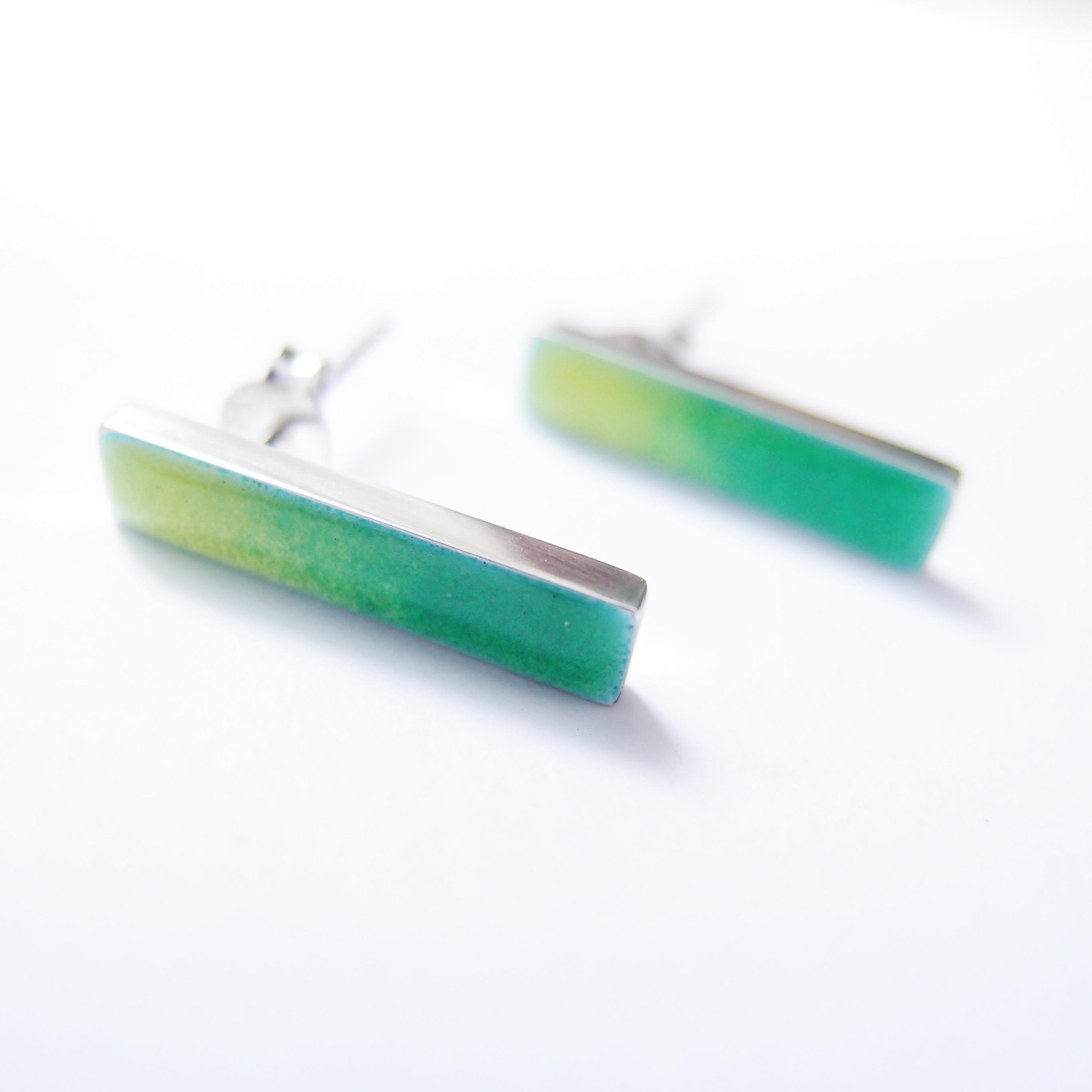 青蘋果綠 純銀琺瑯耳環