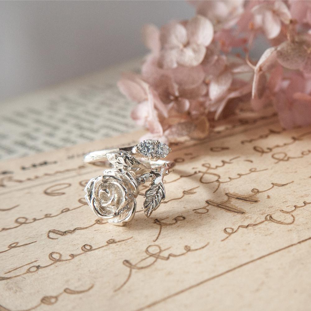 閃耀玫瑰純銀戒指 - 鋯石 / 戒圍可調 /  馬眼