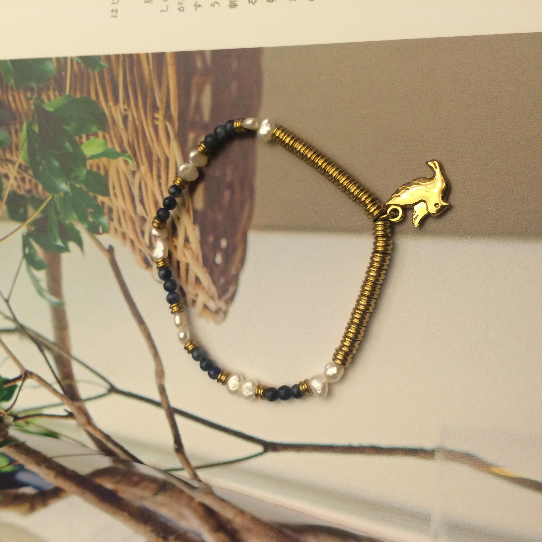 Phong-tshi no.9 白鴿 蘇打石 淡水珍珠 黃銅 手鍊 手環