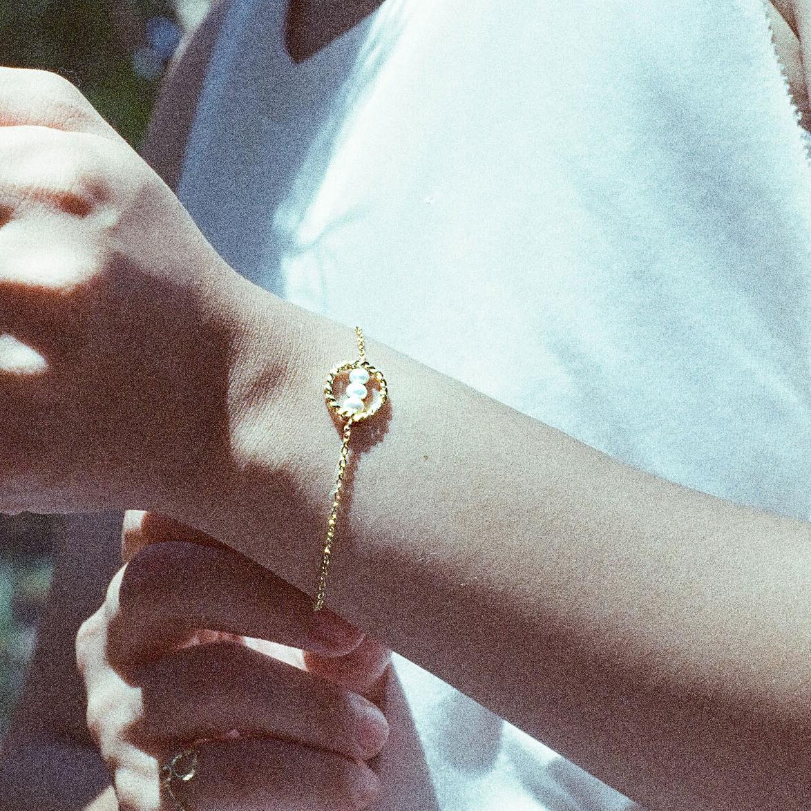 【波金的使者】金色鎖鍊 珍珠手鍊