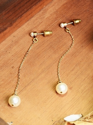 清秀佳人珍珠長鍊 垂墜式耳環