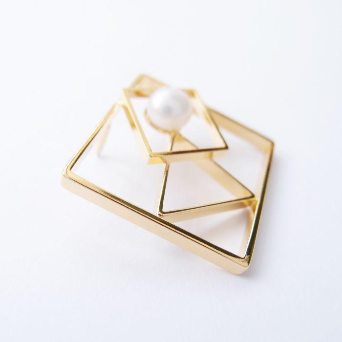 幾何風景9 金屬珍珠胸針