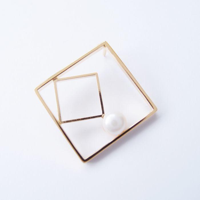 幾何風景13 金屬珍珠胸針