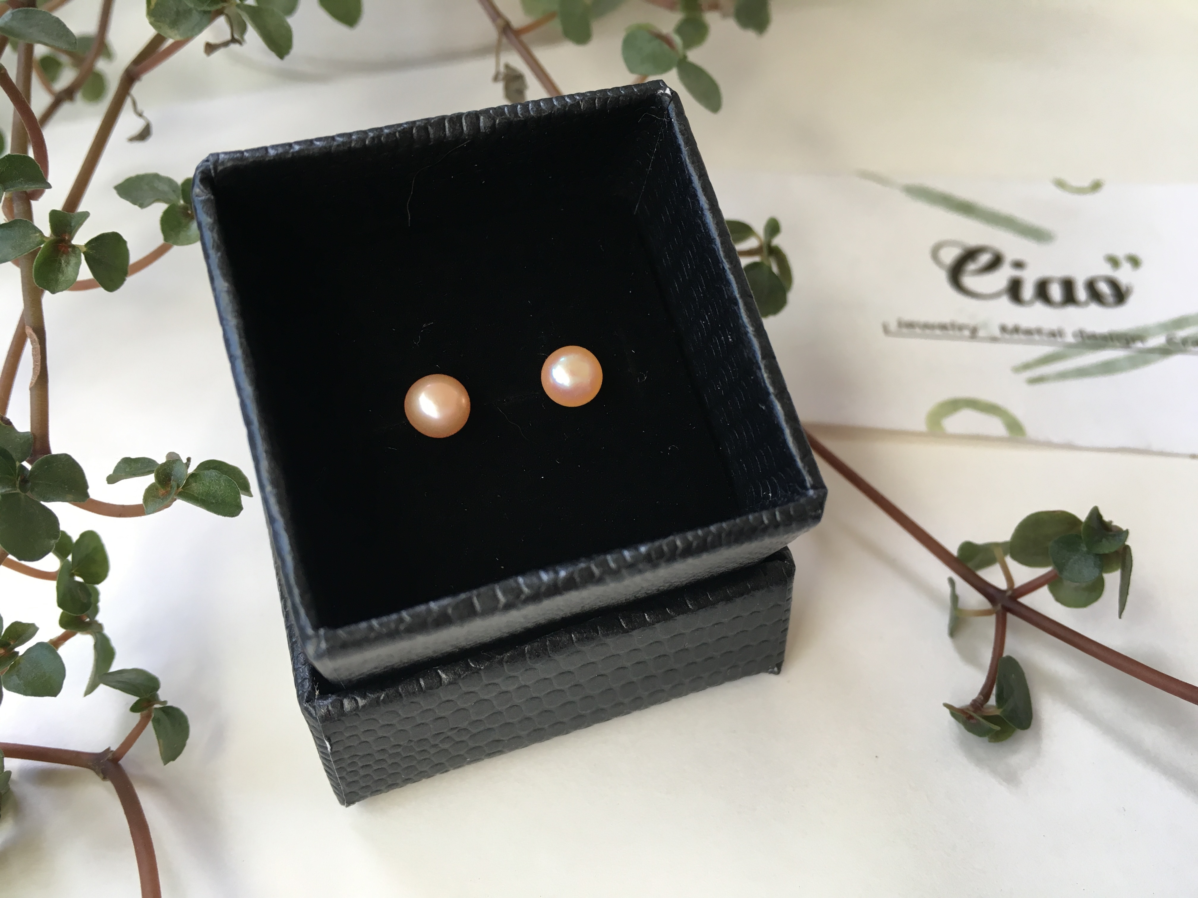 925純銀 天然粉色珍珠耳針