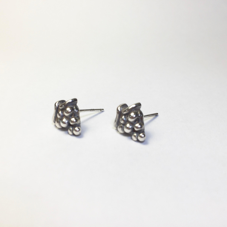 925純銀 葡萄串串心 水果 耳針耳環