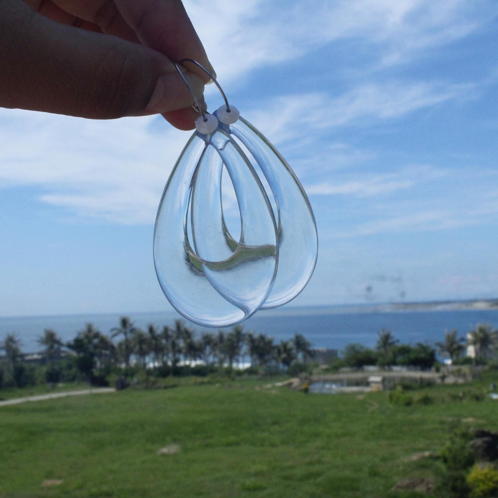 |浪花系|透藍水滴浪花耳環