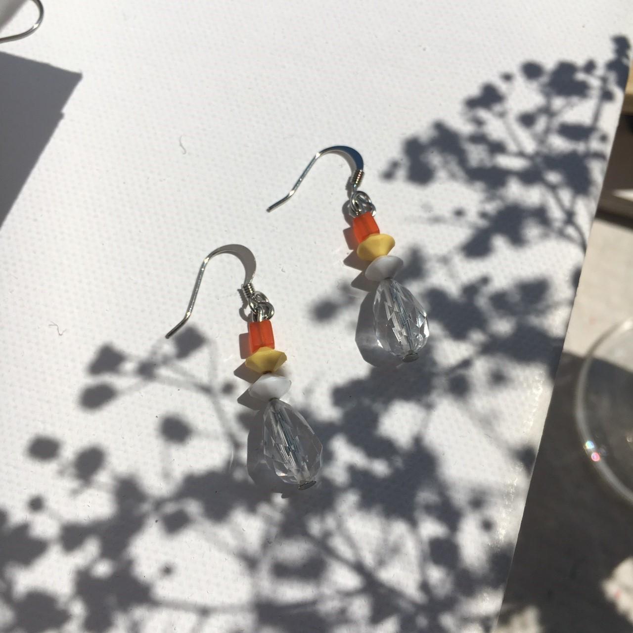  透明系 橘子汽水耳環