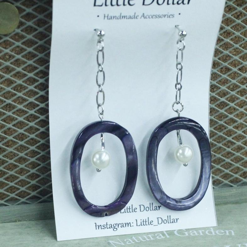  貝殼 紫色橢圓貝殼鑲珍珠垂墜耳環