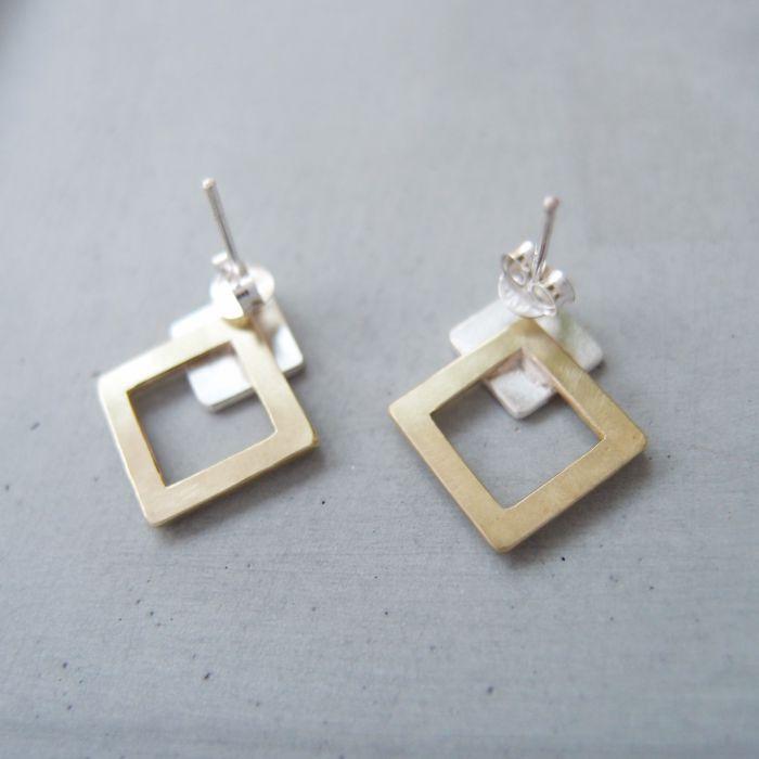 幾何 方形 雙金屬耳環