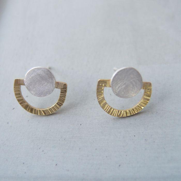 幾何 半圓形 雙金屬耳環