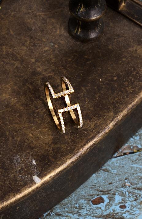 雙環水鑽戒指