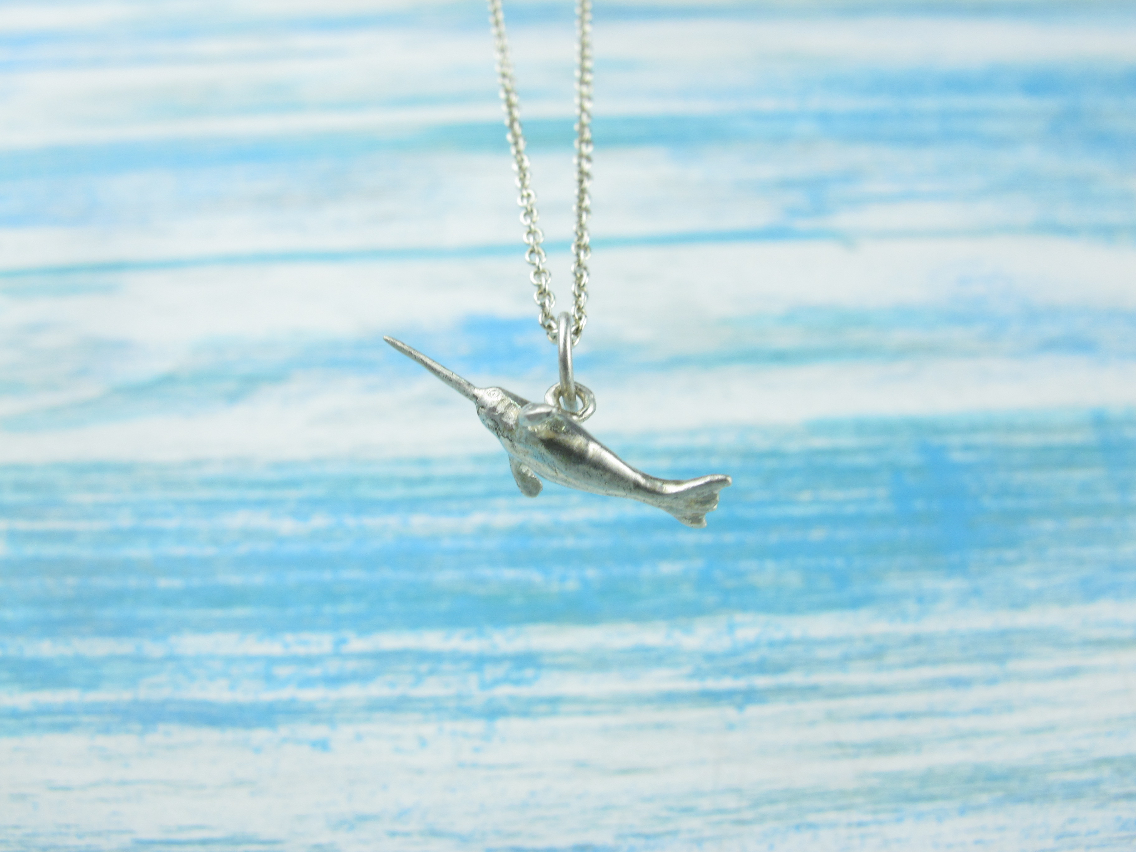 【Diving silver】925銀海洋潛水銀飾--迷你3D獨角鯨項鍊