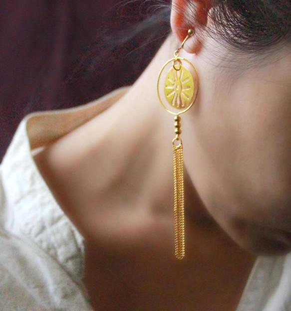 清風明月。鍍20k金長流蘇耳環。