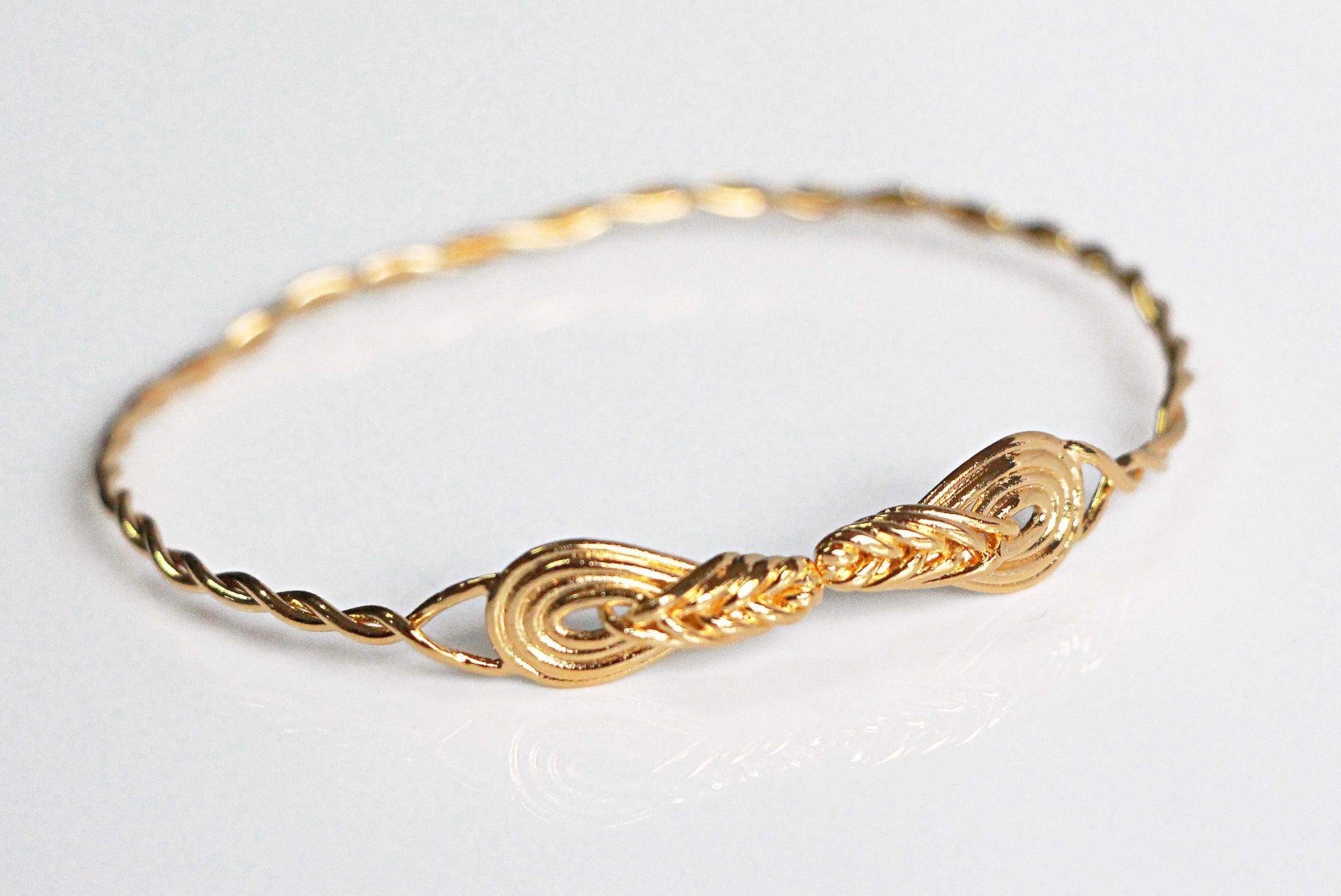 結繩記事-環環相繞。20k鍍金開放式手環。