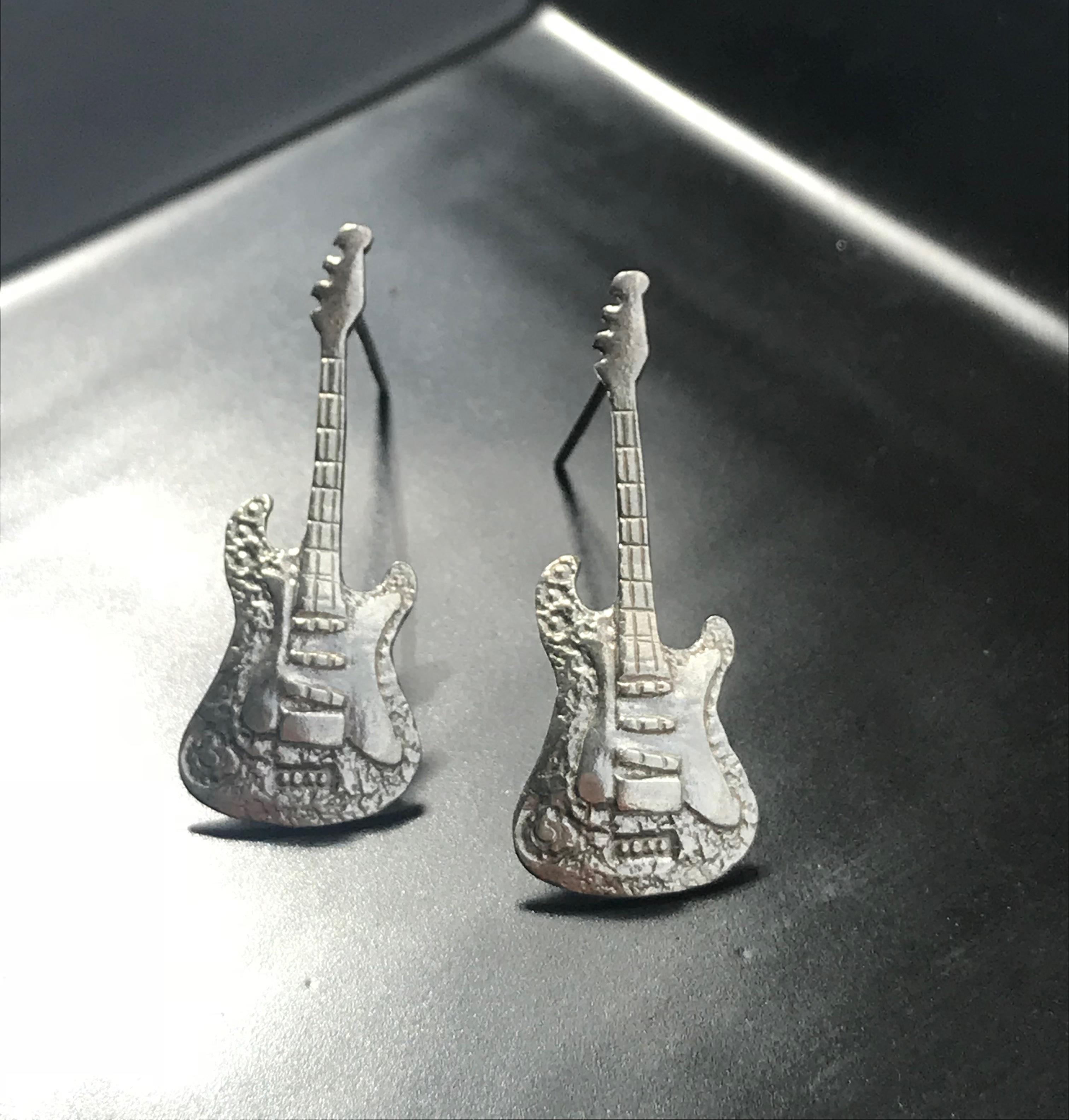 吉他純銀耳環