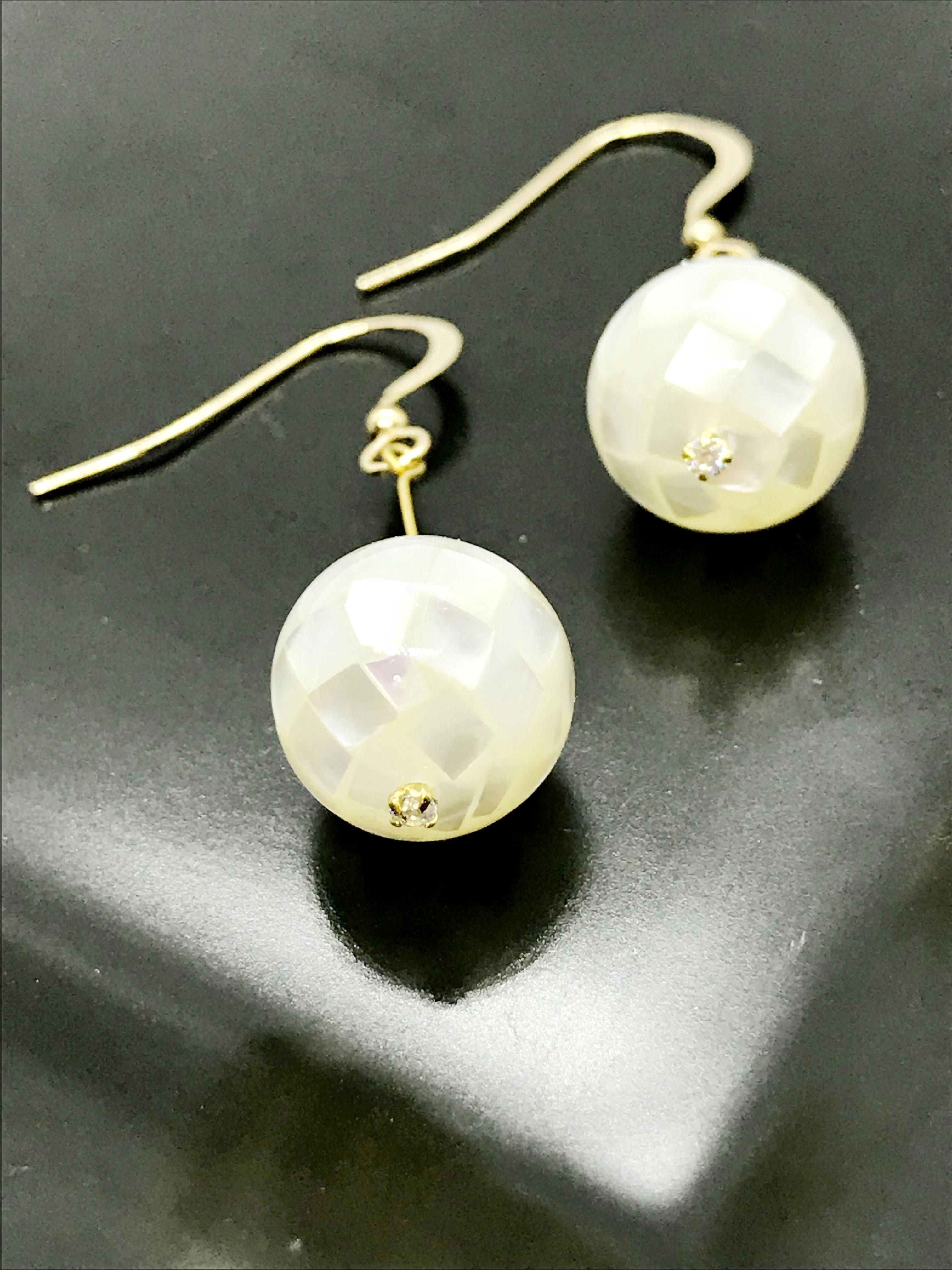 白蝶貝K14GF耳環
