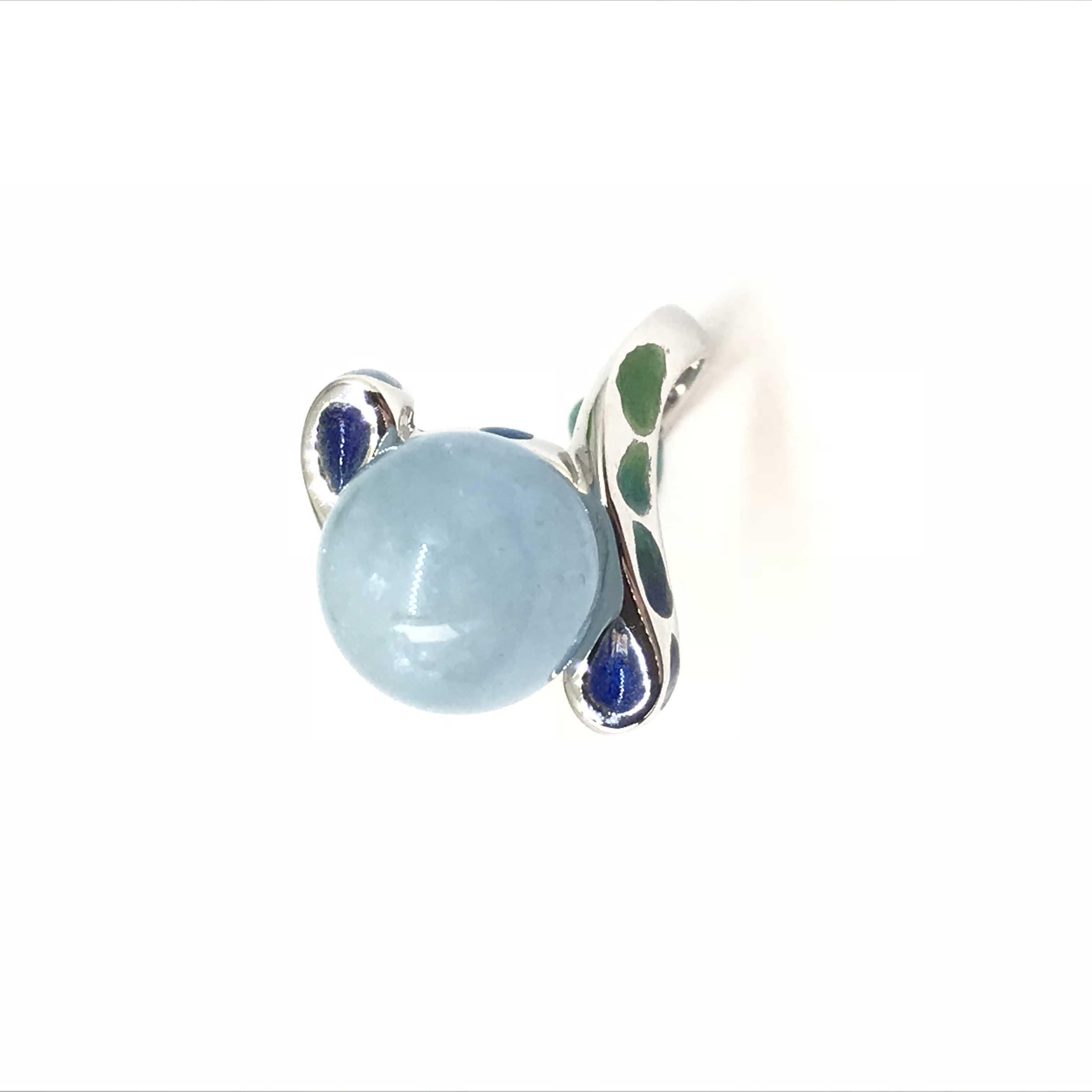 夢的羽毛 純銀琺瑯海藍寶石戒指