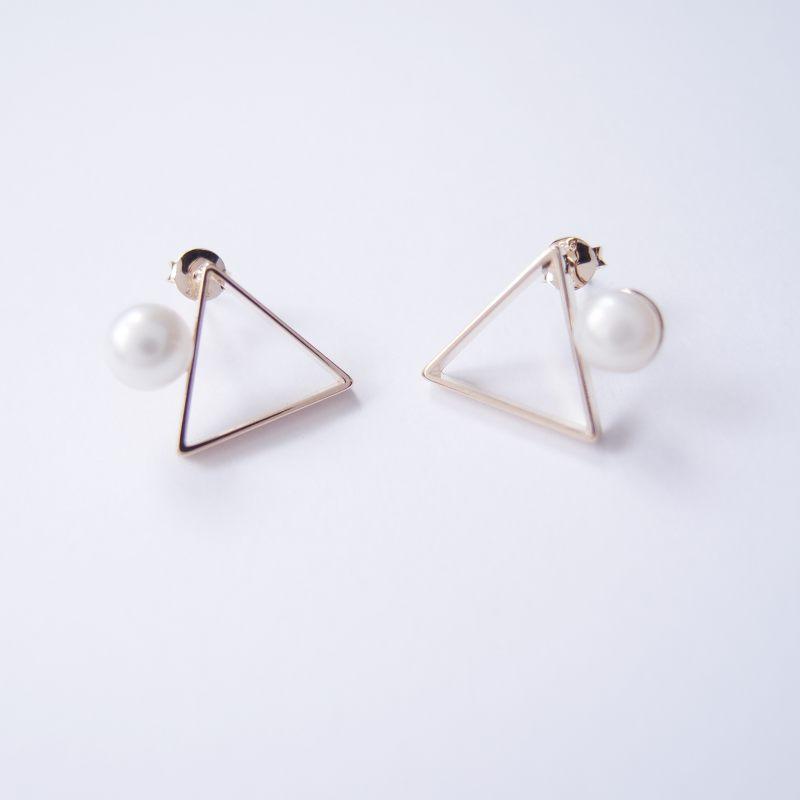 幾何風景 1   金屬珍珠耳環