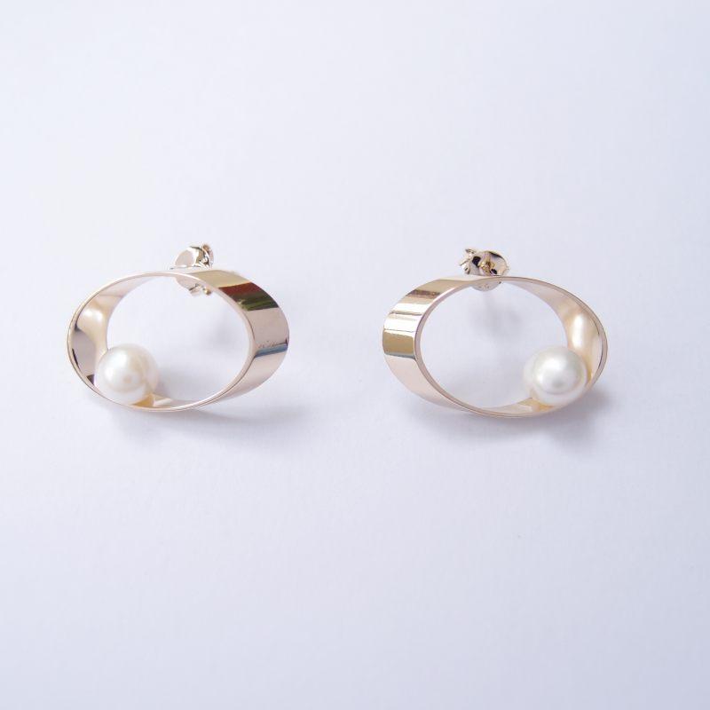 行星軌道 金屬珍珠耳環