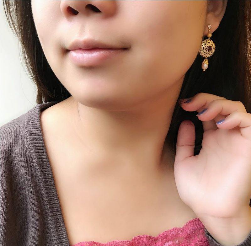 翡冷翠優雅 石榴石珍珠耳環 浪漫 福袋