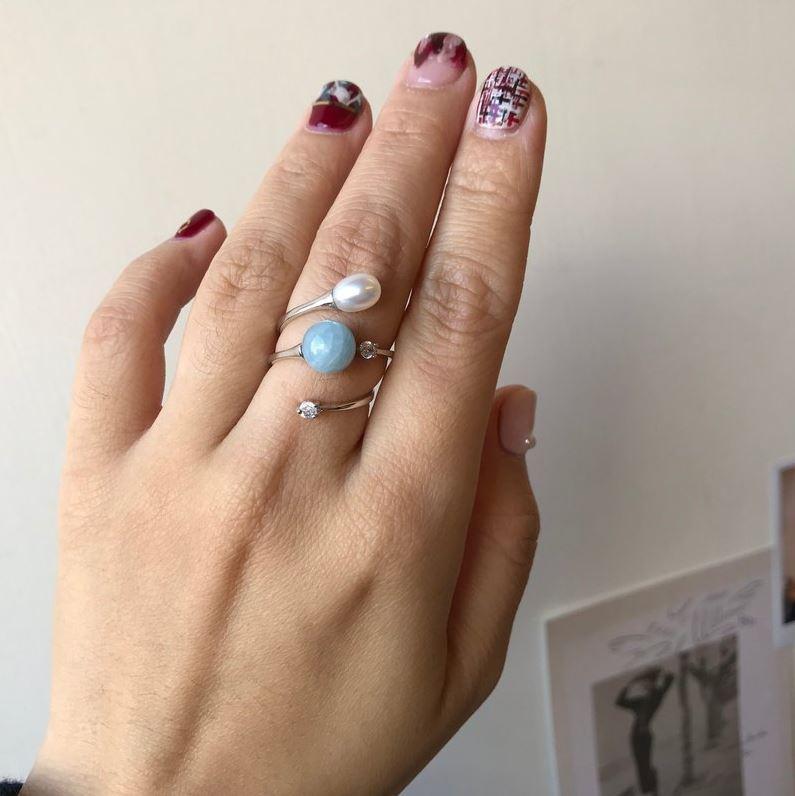 純曖昧 純銀珍珠開放戒指