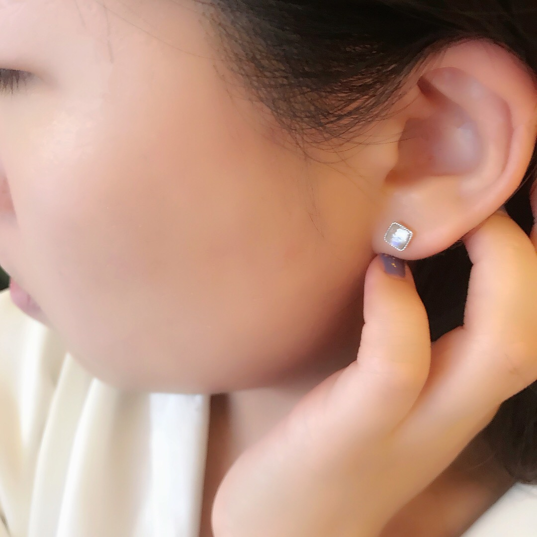 方形月光石純銀耳環