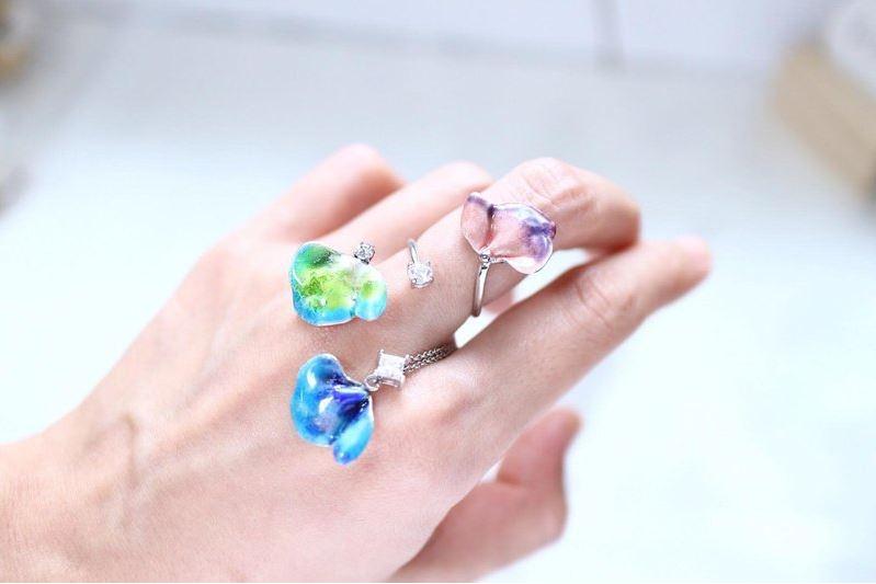 浪漫魚尾 純銀琺瑯珍珠戒指