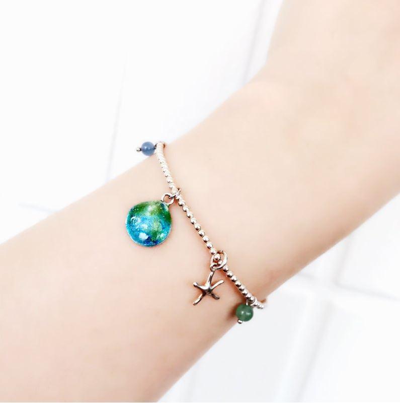 藍色夏季 琺瑯純銀手鍊