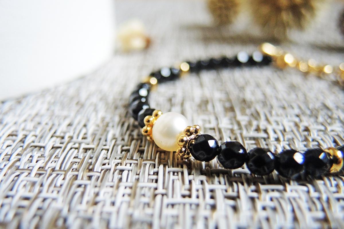 天然淡水珍珠 x 黑瑪瑙 手鍊