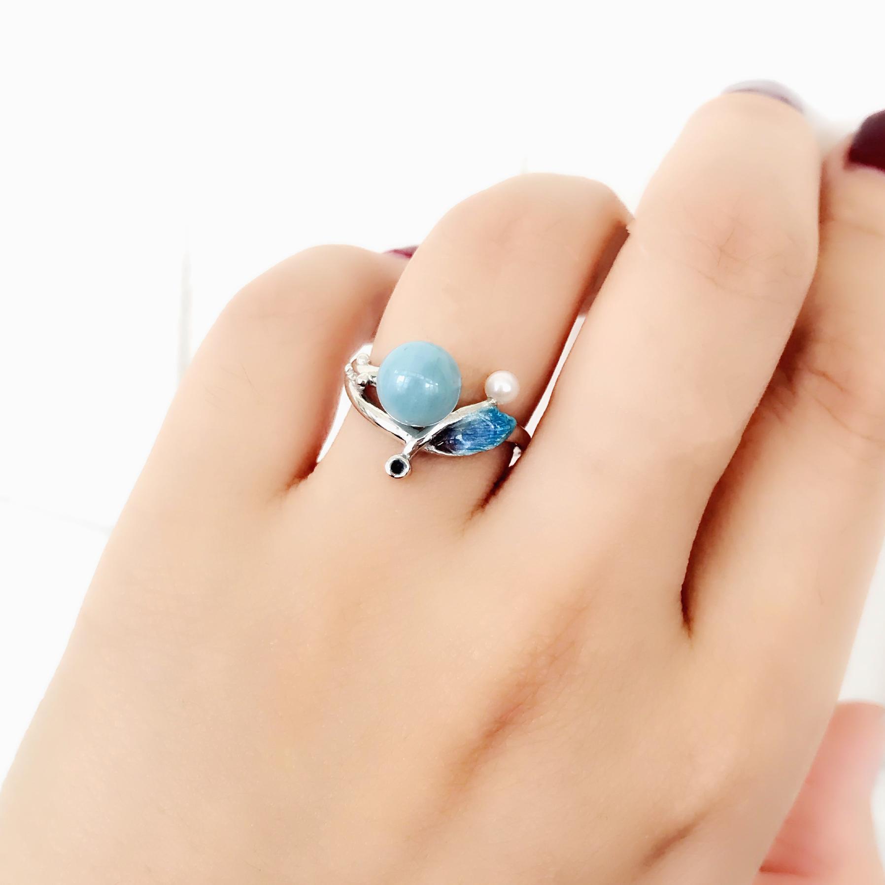 夢的羽毛 純銀琺瑯淡水珠戒指