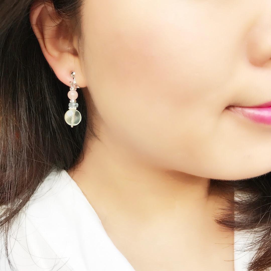 天然石夾式耳環