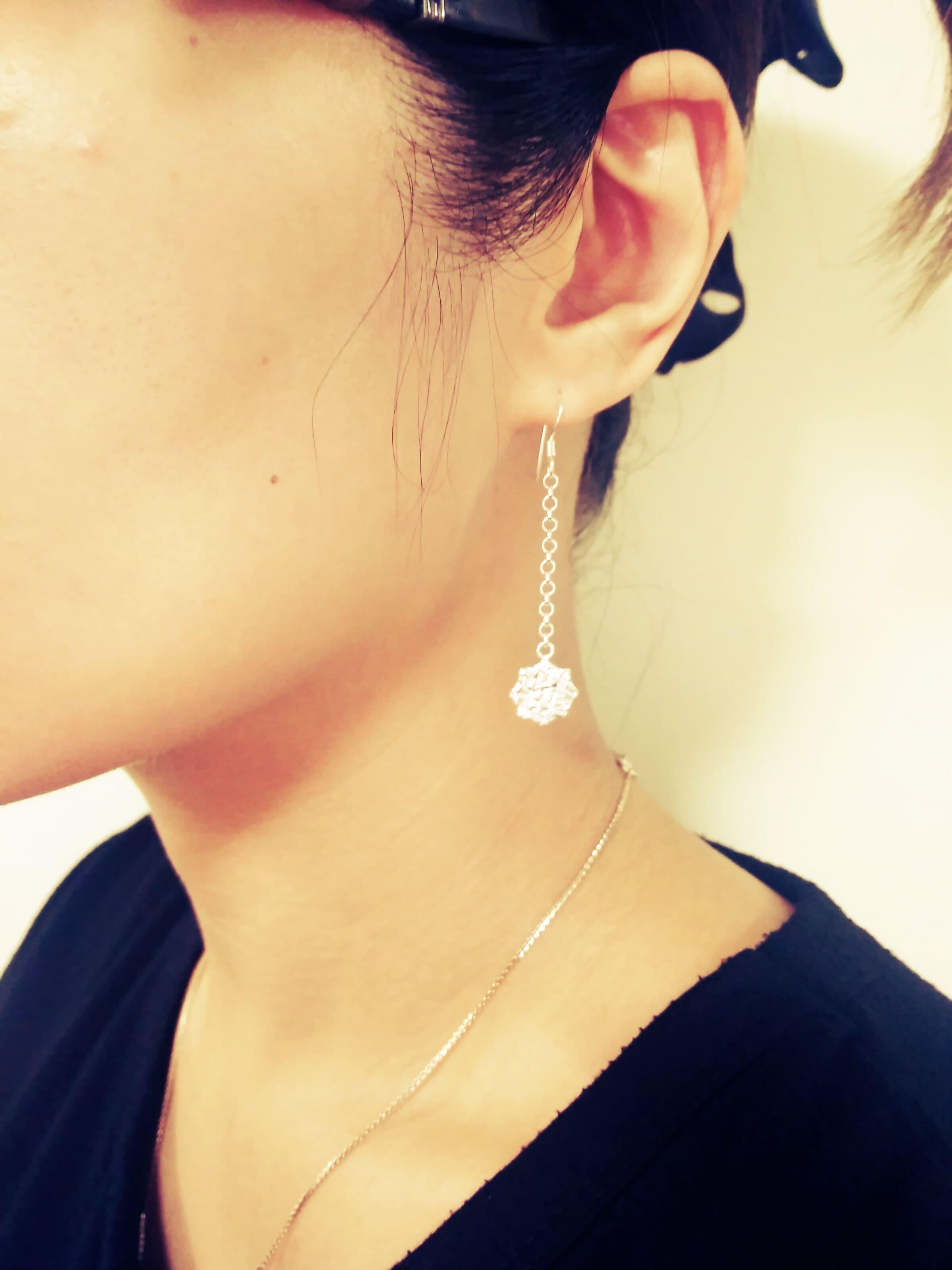 [純銀]質感習作,皺:長耳環