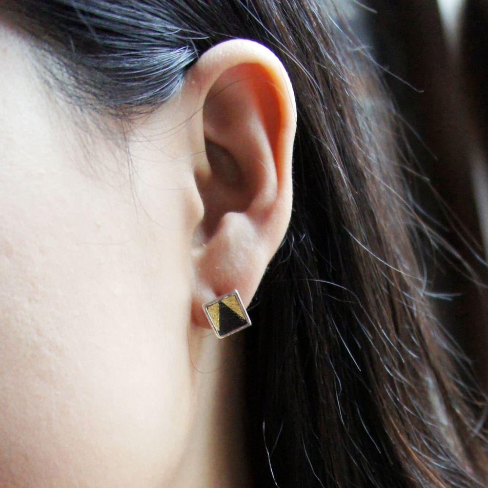 耳上一公分  方B   925銀耳環