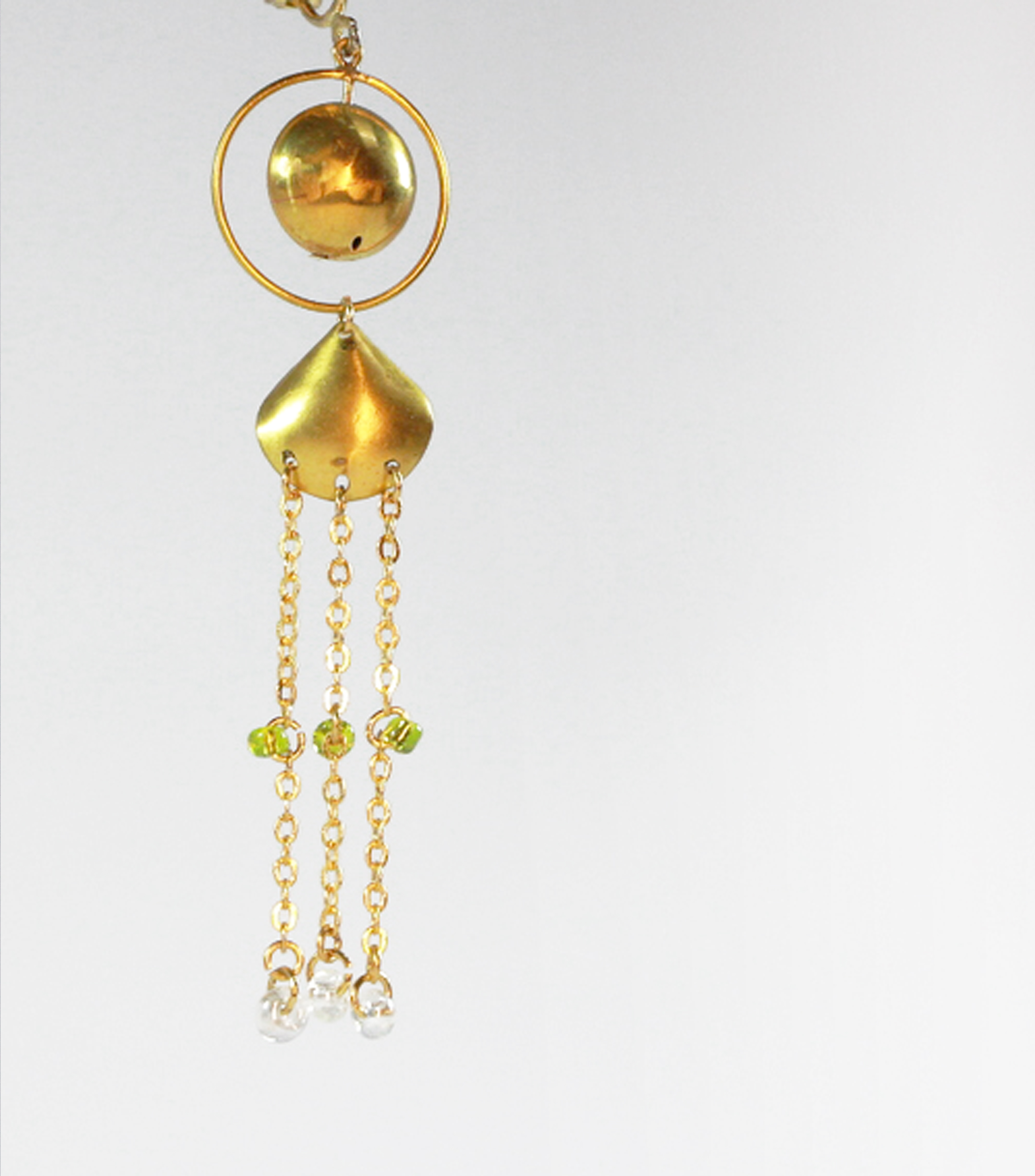 異國幾何。黃銅。琉璃。單耳墜。