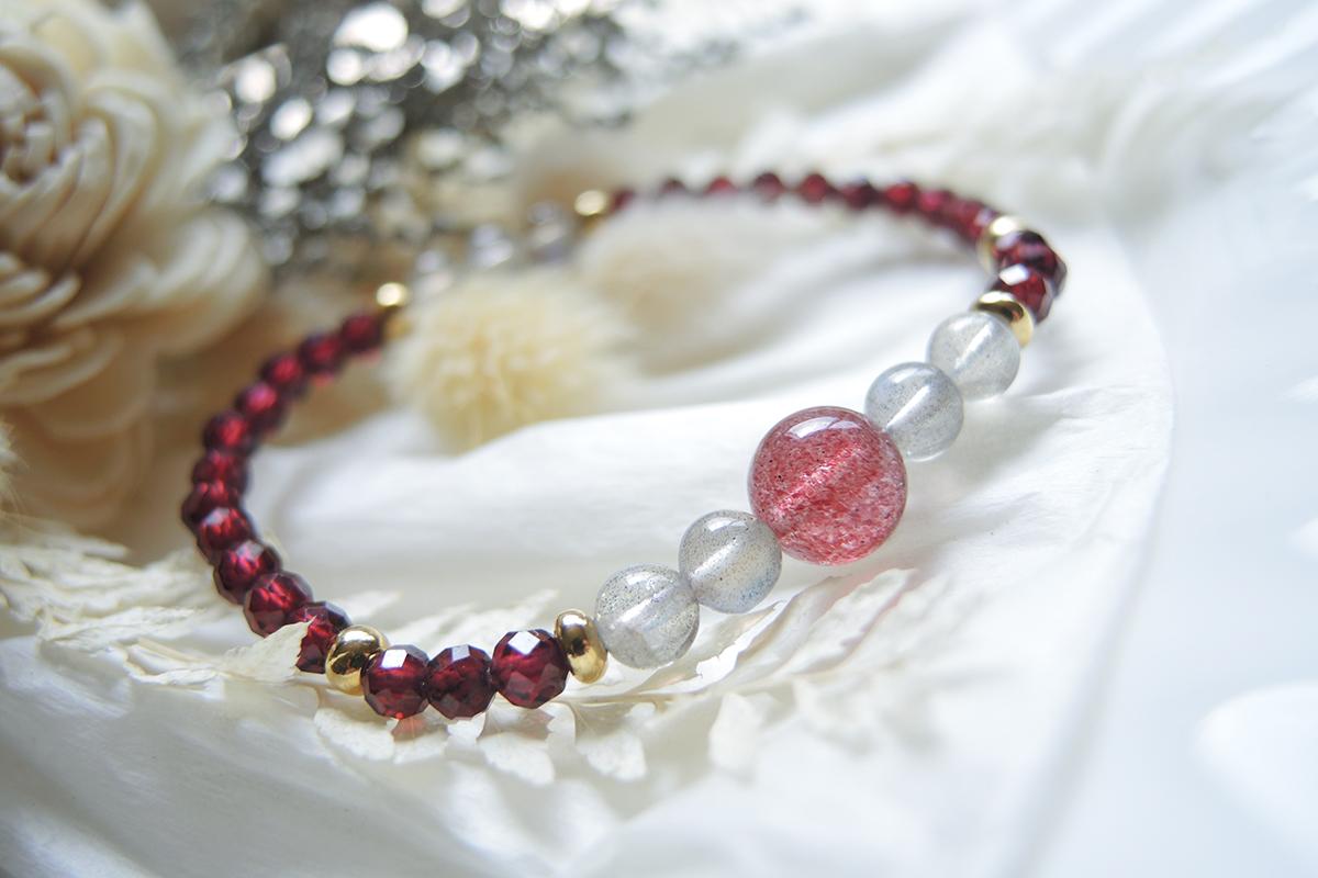 鑽切紅石榴 x 草莓晶 x 拉長石 手鍊